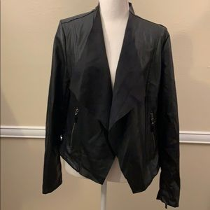 "BACCINI BLACK ""LEATHER"" JACKET! ZIPPERED POCKETS '"